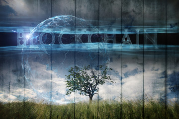 Single tree on imaginative meadow landscape and futuristic Blockchain cyberspace background. Wall mural