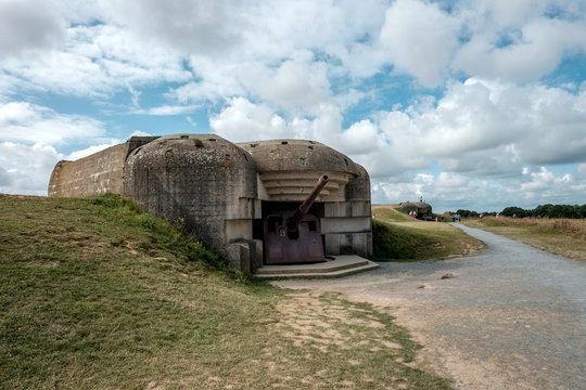 World War II gun battery of Longues-sur-Mer in Normandy, France.