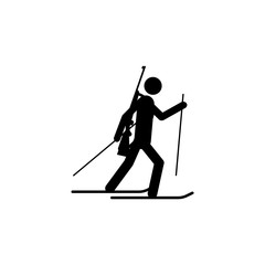 Silhouette biathlon athlete isolated icon. Winter sport games discipline. Black and white design vector illustration. Web pictogram icon symbol for infographics