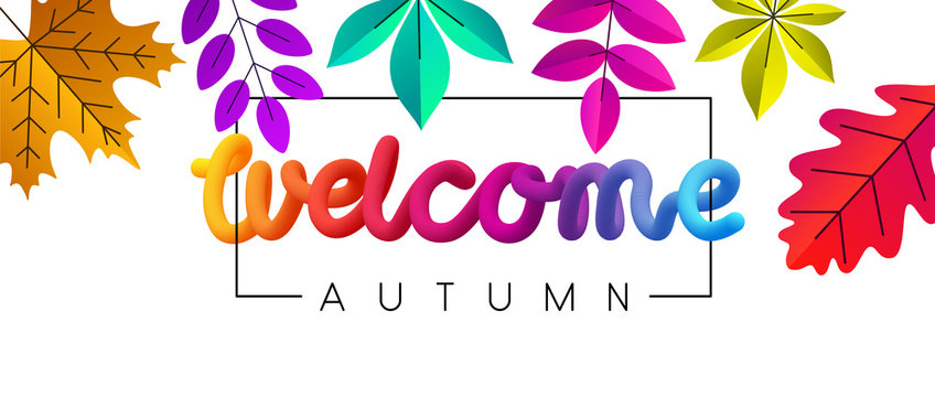 Welcome autumn background with beautiful color leaves.