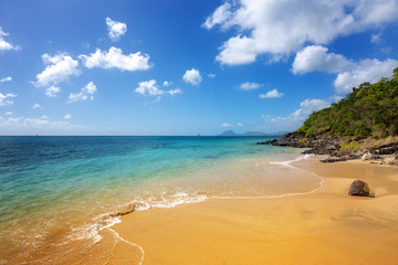 Exotic Beach in Martinique, Caribbean. Pointe Borgnese Natural Site