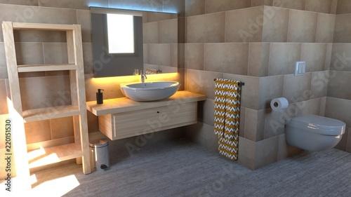 Particolare di un bagno lavabo specchio e prodotti di bellezza
