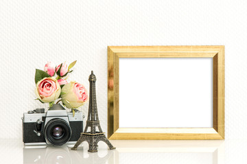 Golden picture frame rose flowers vintage camera Paris travel