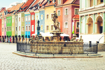 Wall Mural - Proserpine Fountain XVIIIc and medieval houses on the central market square in Poznan, PolandPoznan, Poland, retro toned