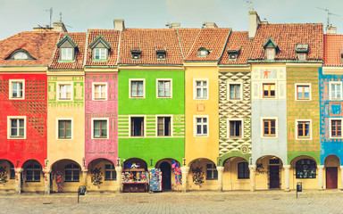 Wall Mural - view of crooked medieval houses on the central market square in Poznan, PolandPoznan, Poland, retro toned
