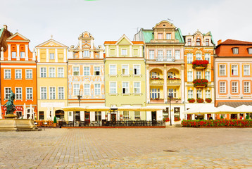 Wall Mural - renaissance houses on the central market square in Poznan, PolandPoznan, Poland, retro toned
