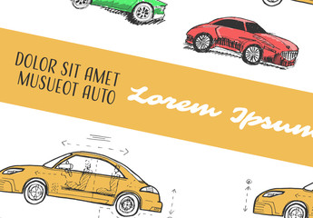 Social Media Post Layout Set with Car Illustrations