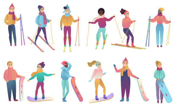Group of cute cartoon skiers and snowboarders in trendy gradient colors vector illustration.