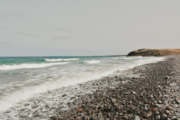 Wonderful seascape. Surf Waves breaking on a seashore. Amazing ocean nature