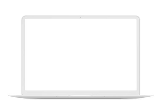 Modern thin laptop front view. White notebook mockup isolated vector illustration. Perfect for any ui demonstration.
