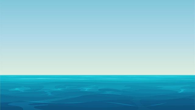Vector Realistic cartoon vector empty blue ocean sea and sky landscape.