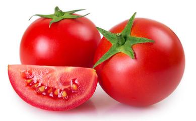 Fresh tomato on white background