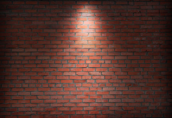 brick wall and spotlight.  scene illuminated spotlight.  bricks wall background.