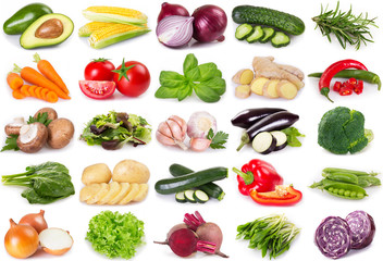 Fototapeta Collection of vegetables and herbs on white background obraz