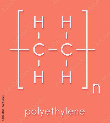 Polyethylene (PE, polythene, polyethene) plastic, chemical structure