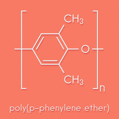 Poly(p-phenylene oxide) (PPO) polymer, chemical structure. Also known as poly(p-phenylene ether) or PPE. Skeletal formula.