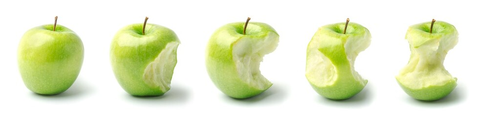 Timeline of an Apple from Whole to Eaten Wall mural