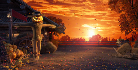 Fall in backyard with leaves falling from trees and Halloween pumpkin scarecrow, autumn background 3D Rendering