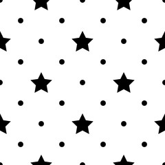Seamless monochrome pattern with stars. Abstract background
