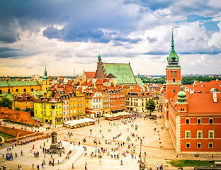Wall Mural - Old town square, Warsaw Poland, retro toned