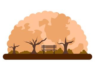 Retro landscape of a park in autumn