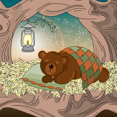 Autumn Color Vector Illustration Set DREAMING BEAR for Scrapbooking and Digital Print on Card and Photo Children's Albums