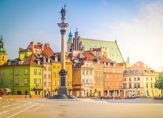 Wall Mural - Old town square in Warsaw, historical heritage, Poland, retro toned