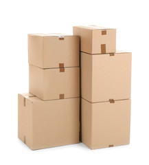 Cardboard boxes on white background. Moving day