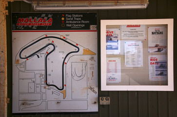 An old map and noticeboard are displayed at the Mallala Motor Sport Track located on the oputskirts of the town of Mallala, located north of Adelaide