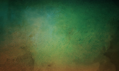 old vintage blue green and brown background with distressed texture and grunge design with black border, elegant painted wall background design
