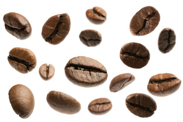 flying coffee beans isolated on white