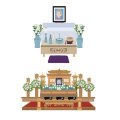 葬儀 祭壇 イラスト 自宅葬