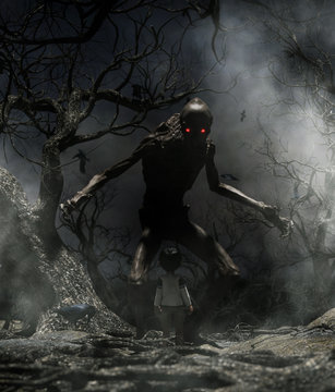 Nightmare with bogeyman,Boy enter to the haunted forest in his dream and discover a mythical creature call bogeyman in creepy forest,3d illustration