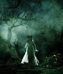 Ghost bride in creepy forest,3d illustration for book illustration or book cover