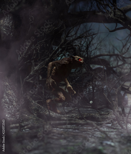 Werewolf in creepy forest,3d rendering for book cover or