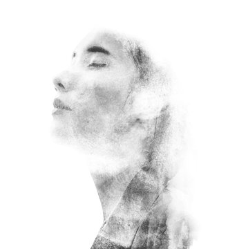 blending double exposure woman with watercolor style black and white