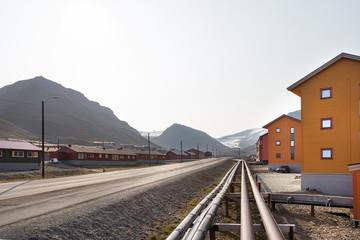 Pipelines along the road in Longyearbyen, Svalbard.