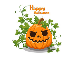 Happy Halloween. The pumpkin with emotions face isolated on white background. Vector cartoon Illustration.