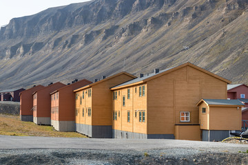 Colorful wooden buildings along the road in summer at Longyearbyen, Svalbard.