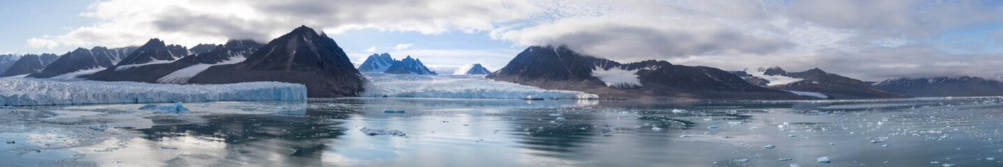 The Monacobreen - Monaco glacier in Liefdefjord, Svalbard, Norway.