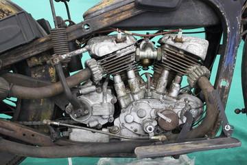 V-twin two cylinder engine motor of old vintage motorcycle