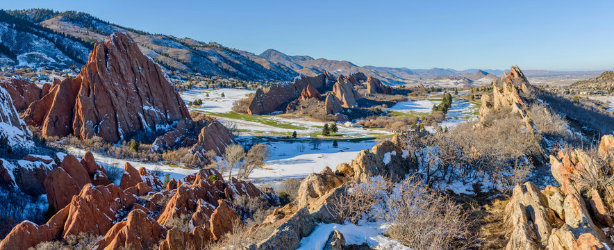 Fountain Valley at Roxborough State Park  - A panoramic winter view of red sandstone fountain formations at Fountain Valley, in Roxborough State Park, Southwest of Denver, Colorado, USA.