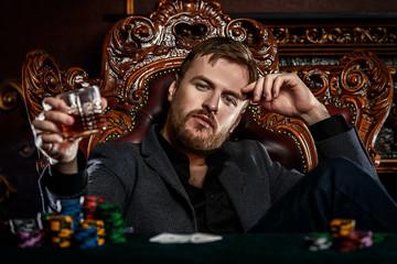 thoughtful poker man