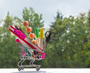 on a background of green bokeh trees in a cart multi-colored stationery accessories study