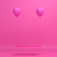 Swing pink balloons, Design creative concept for  happy birthday, valentine or love. 3D rendering illustration.