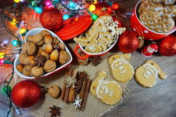 Cookies, gingerbread, nuts and spices. Christmas sweets and nuts. Christmas time