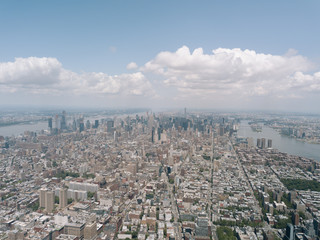 Drone Aerial Shot World Trade Center City View Beautiful NYC New York