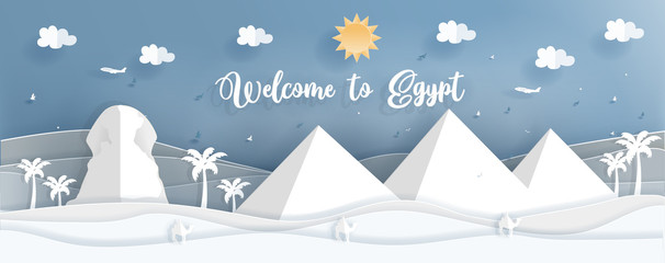Fototapete - Panorama postcard of world famous landmarks of Egypt in paper cut style vector illustrationPanorama postcard of world famous landmarks of Egypt in paper cut style vector illustration