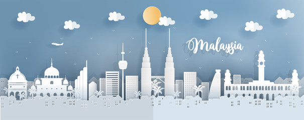 Fototapete - Panorama travel postcard of world famous landmarks of Malaysia in paper cut style vector illustration