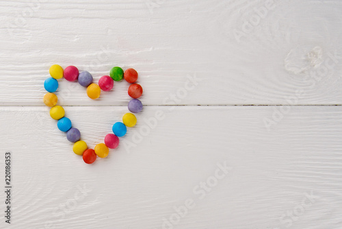 Children birthday party background, frame with sweets and lollipops ...